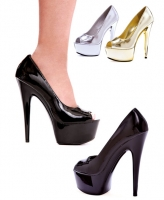 609-Shine Ellie Shoes, 6 Inch Chrome Pointed Stiletto High Heels Open Toe Pump