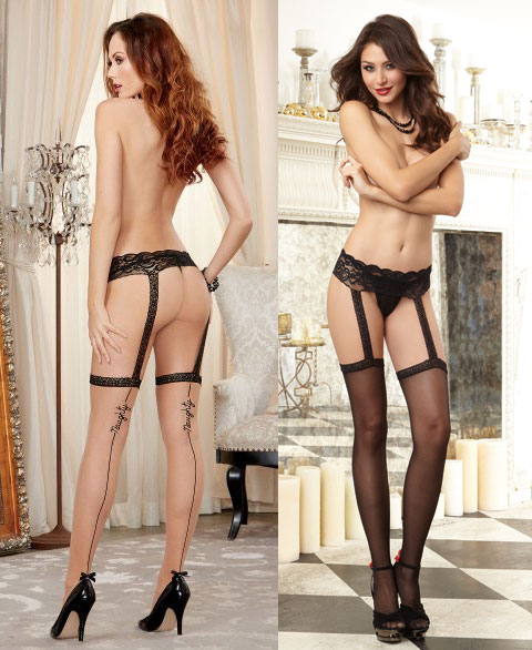 41a8b43befa ... Sheer garter belt pantyhose with contrast back seam. 0197 Dreamgirl