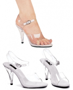 405-Brook Ellie Shoes, 4 inch heels clear  sandals