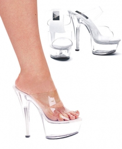 601-Coco Ellie Shoes, 6 inch stiletto high heels clear Platforms