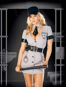 3759 Dreamgirl Costume, Corrections Officer, Button front dress with