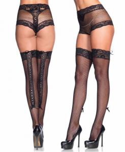 1106 Leg Avenue, fishnet panty lace up back thigh highs