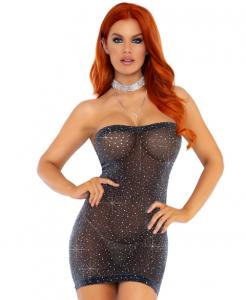 86151 Leg Avenue sheer rhinestone tube dress