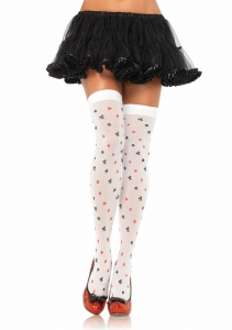 6274 Leg Avenue Stockings,  opaque poker suit print thigh highs s