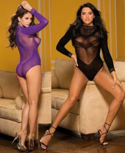 90412 Shirley mesh and lace long sleeve teddy