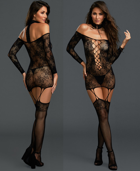 0318 Dreamgirl lace garter dress