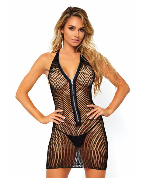 86086 Leg Avenue Fishnet zip up halter dress