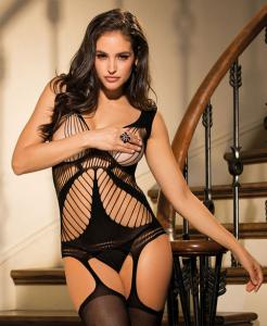 90409 Shirley mesh body stocking open bust