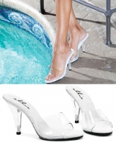 405-Vanity Ellie Shoes, 4 inch Heel Clear Mule  shoes