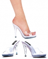 421-Vanity Ellie Shoes, 4.5 inch high heel Clear Mule  Sandals