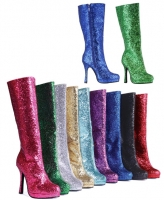 421-Zara Ellie Shoes 4 Inch Heels Inner Zipper Glitter Knee High Boot