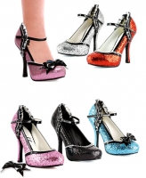 453-Lacey Ellie Shoes, 4 Inch Glitter Heels with detachable bow and r