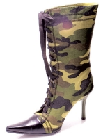 457-Camo Ellie Shoes, 4.5 inch high heels Fetish, zipper  Ankle B