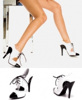 511-Gangster Ellie Shoes, 5 inch high heels Fetish Two Tone Closed To