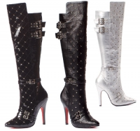 511-Gwen Ellie Boots, 5 inch high heels Buckles Zipper Knee High