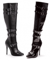 516-Lexi Ellie Boots, 5 inch high heels Buckles Zipper Knee High Boots