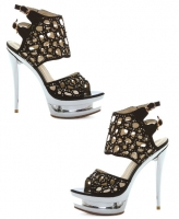 603-Kylie Ellie Shoes, 6 Inch Chrome Stiletto High Heels Mezzo Sandal