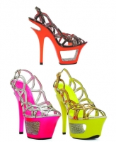 604-Isla Ellie Shoes 6 Inch Neon Stiletto High Heels Black light Shoes