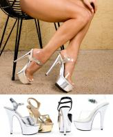 609-Chrome Ellie Shoes, 6 inch pointed Stiletto high heels