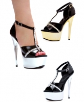 609-Jayda Ellie Shoes, 6 Inch Chrome Pointed Stiletto Heels Platforms