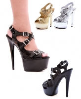 609-Python Ellie Shoes, 6 Inch Chrome Pointed Stiletto High Heels