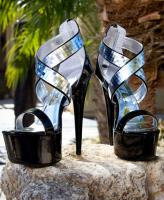 609-Roni Ellie Shoes, 6 Inch Metallic Stiletto High Heels  Sandal