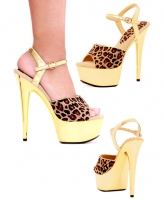609-Simba Ellie Shoes, 6 Inch Chrome high heels pointed stiletto plat