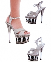 629-Janie Ellie Shoes, 6 Inch Chrome Heels Open Toe Disco Ball Platfo