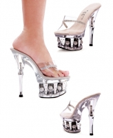 629-Jesse Ellie Shoes, 6 Inch Chrome Heels Clear Disco Ball Platforms