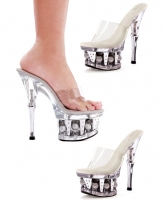 629-Vanity Ellie Shoes, 6 Inch Chrome Heels Clear Open Toe Disco Ball