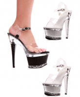 649-Diamante Ellie Shoes, 6 Inch High Heels Open Toe Textured Platfor
