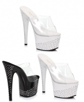 709-Sandy Ellie Shoes 7 Inch Stiletto High Heels Mule Rhinestone Shoes