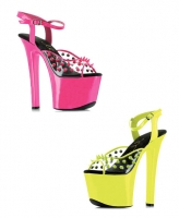 711-Solar Ellie Shoes 7 Inch Neon Stiletto High Heels Platform Sandal