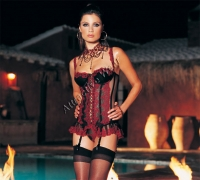 Exotic 2 Pc. Mesh Embroidered Corset With  Matching Thong