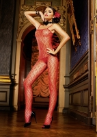 174 Baci Lingerie, red  flower lace bodystockings.