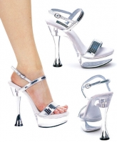 C-Carla Ellie Shoes, 6 inch Silver Cone high heels Open Toe