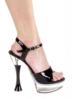C-Juliet-B 6 Inch  Black Cone Heel With 2 Inch Platforms Shoes
