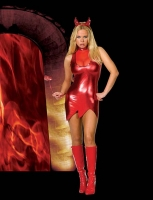 5033 Dreamgirl Costumes, Hotter Than Hell Costume, stretch red metall