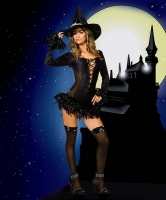 5034 Dreamgirl Costumes, Broomstick Babe, stretch knit dress with plu