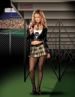 5062 Dreamgirl Costumes, Rock Schoolgirl, shiny knit zipper front jac