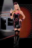 5174 Dreamgirl Costumes, rehab nurse, stretch vinyl dress with hot pi