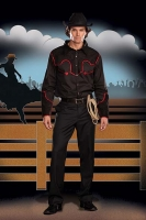 5855 Dreamgirl Men Costume, Buck Wild, Button front shirt with faux S