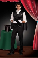 5857 Dreamgirl Men Costume, Black Magic Man Costume, Crushed velvet b
