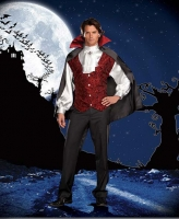 5940 Dreamgirl Men Costume, Fang Bangin Fun Vampire, Satin long sleev