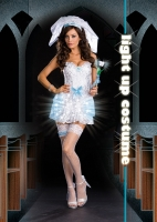 6392 Dreamgirl Costume, LIGHT Up My Life Bride, Lace bustier style dr