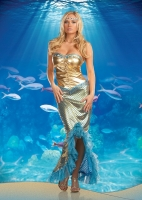 6393 Dreamgirl Costume, Sea Worthy, Stretch gold foil and shell print