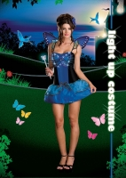 6407 Dreamgirl Costume, Blue Butterfly Beauty, light up Microfiber dr