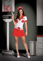 6487 Dreamgirl Costume, nurse anita shot, stretch knit snap front dre