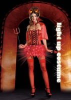 6498 Dreamgirl Costume, Devil s De-LIGHT, light up Satin flame dress