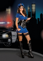 6513 Dreamgirl Costume, Officer Anita Friskya, Stretch knit zipper fr